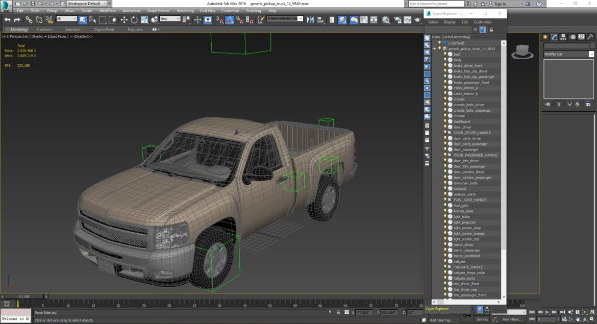 generic pickup truck 14 3d model 3ds max fbx blend obj 320782
