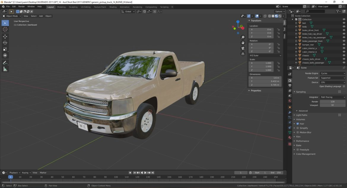 generic pickup truck 14 3d model 3ds max fbx blend obj 320783