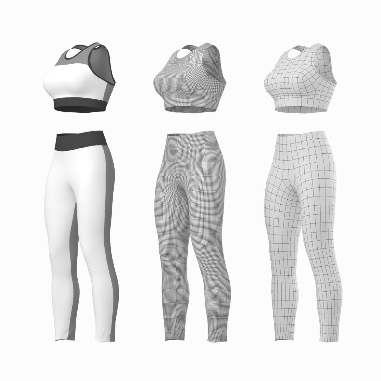 woman sportswear 6 base mesh design kit 3d model 3ds max fbx blend c4d dae ma mb  obj ztl 321042
