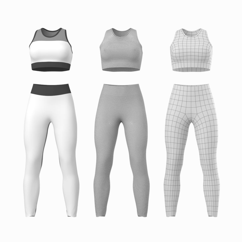 woman sportswear 6 base mesh design kit 3d model 3ds max fbx blend c4d dae ma mb  obj ztl 321044