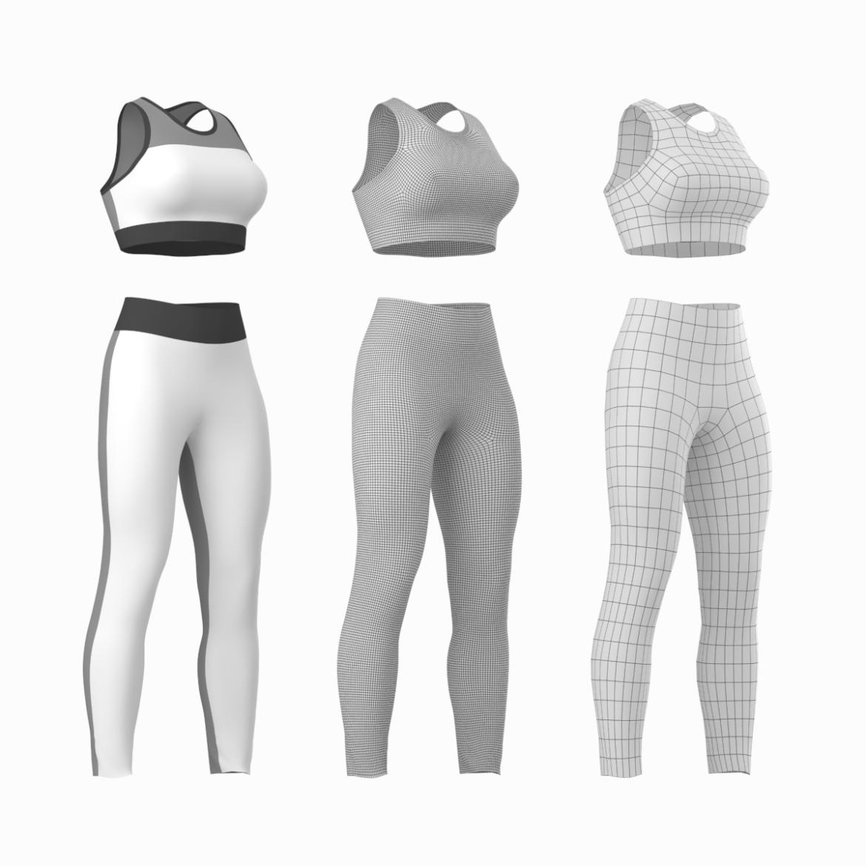 woman sportswear 6 base mesh design kit 3d model 3ds max fbx blend c4d dae ma mb  obj ztl 321045