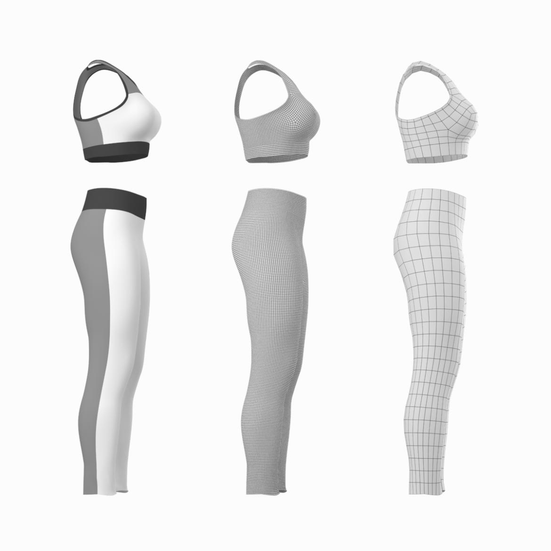 woman sportswear 6 base mesh design kit 3d model 3ds max fbx blend c4d dae ma mb  obj ztl 321046