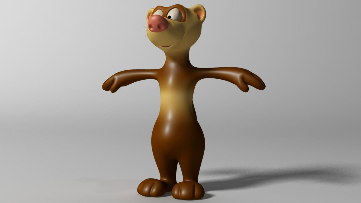 cartoon ferret rigged 3d model 3ds max fbx  obj other 321724