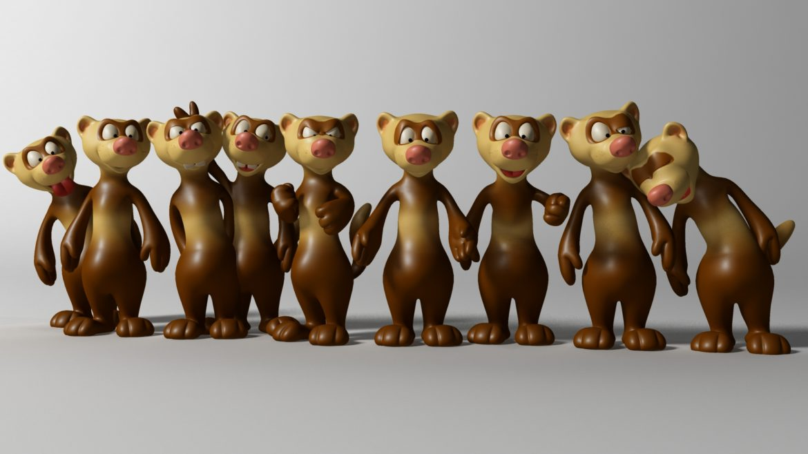 cartoon ferret rigged 3d model 3ds max fbx  obj other 321732