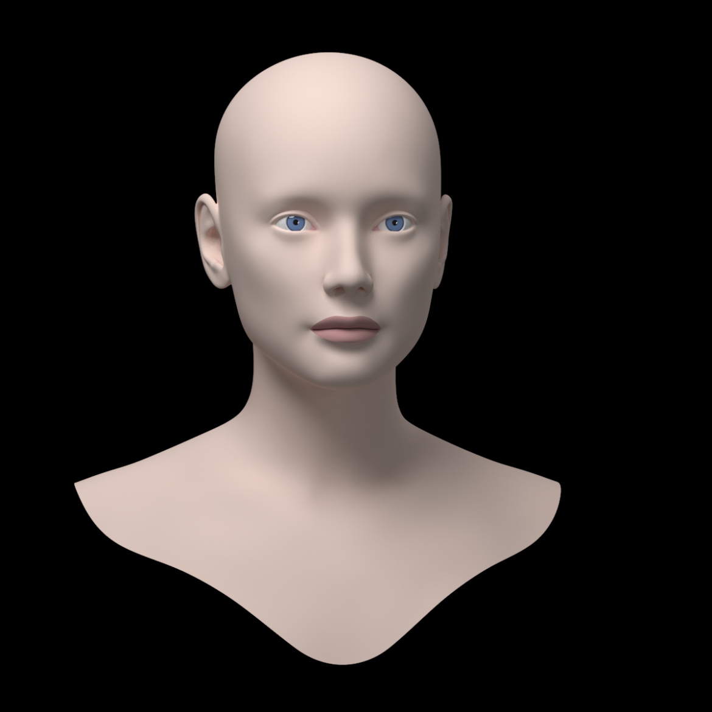 female ideal head base mesh 3d model 3ds max fbx c4d dae ma mb obj 321752
