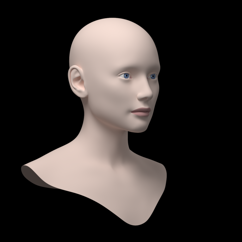 female ideal head base mesh 3d model 3ds max fbx c4d dae ma mb obj 321754