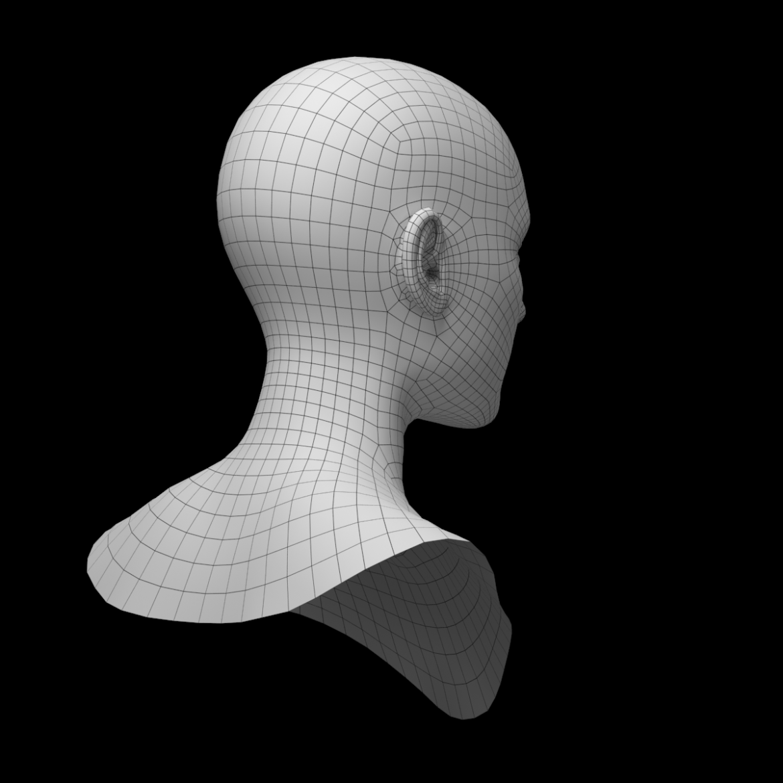 female ideal head base mesh 3d model 3ds max fbx c4d dae ma mb obj 321759