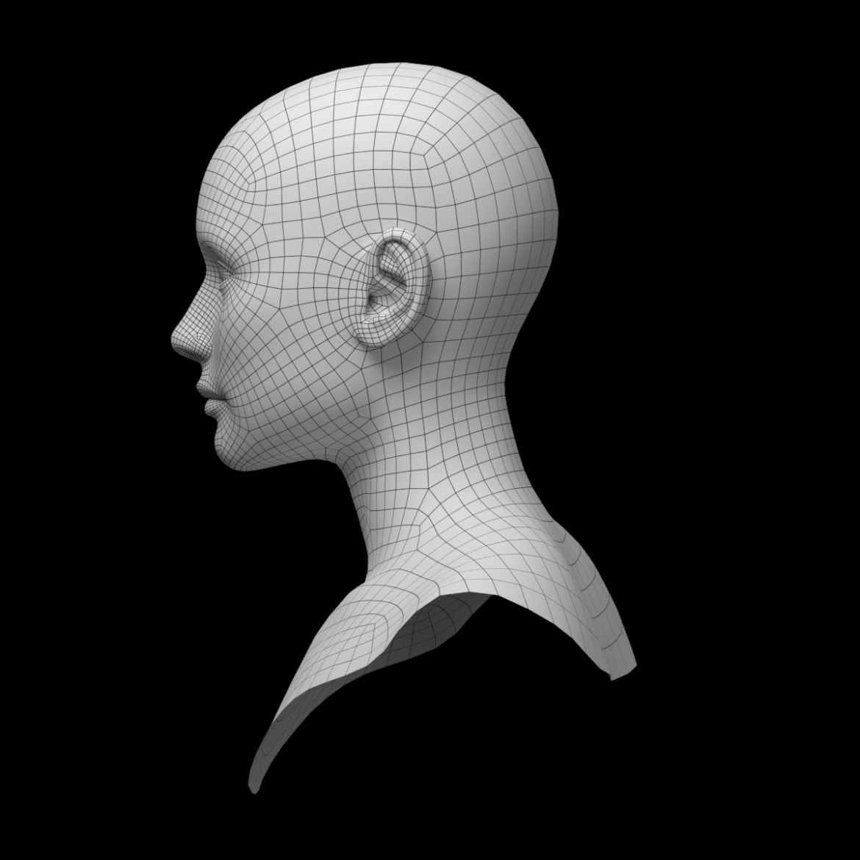 female ideal head base mesh 3d model 3ds max fbx c4d dae ma mb obj 321763