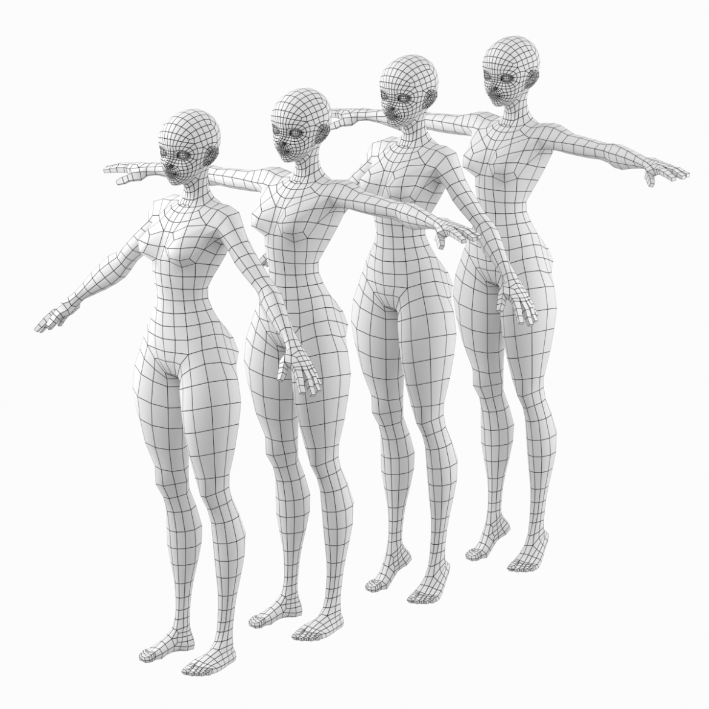 stilizuota mergina abby dailios formos tinklelis 3D modelis 3ds max fbx c4d dae ma mb obj 321796