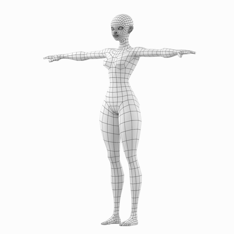 stilizuota mergina abby dailios formos tinklelis 3D modelis 3ds max fbx c4d dae ma mb obj 321797