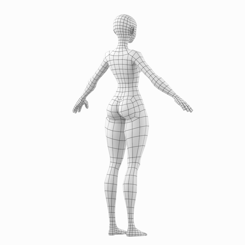 stilizuota mergina abby dailios formos tinklelis 3D modelis 3ds max fbx c4d dae ma mb obj 321800