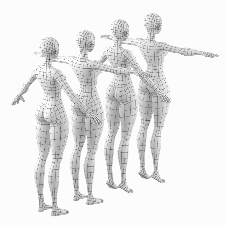 stilizuota mergina abby dailios formos tinklelis 3D modelis 3ds max fbx c4d dae ma mb obj 321805