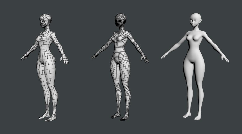 stilizuota mergina abby dailios formos tinklelis 3D modelis 3ds max fbx c4d dae ma mb obj 321810