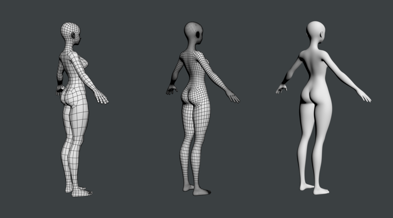 stilizuota mergina abby dailios formos tinklelis 3D modelis 3ds max fbx c4d dae ma mb obj 321813