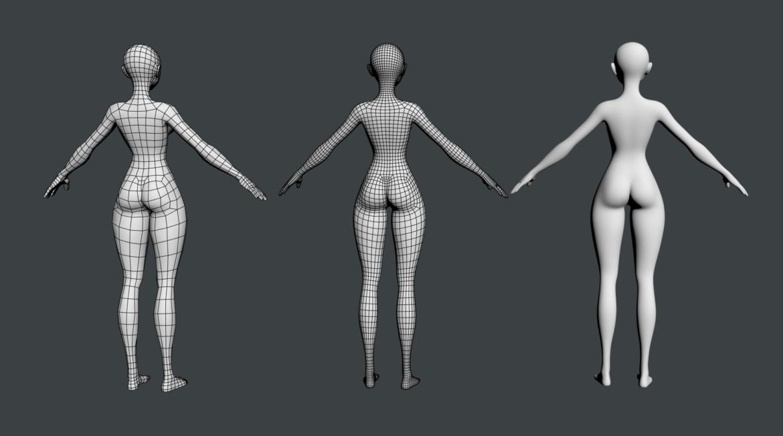 stilizuota mergina abby dailios formos tinklelis 3D modelis 3ds max fbx c4d dae ma mb obj 321814