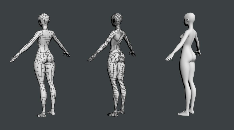 stilizuota mergina abby dailios formos tinklelis 3D modelis 3ds max fbx c4d dae ma mb obj 321815