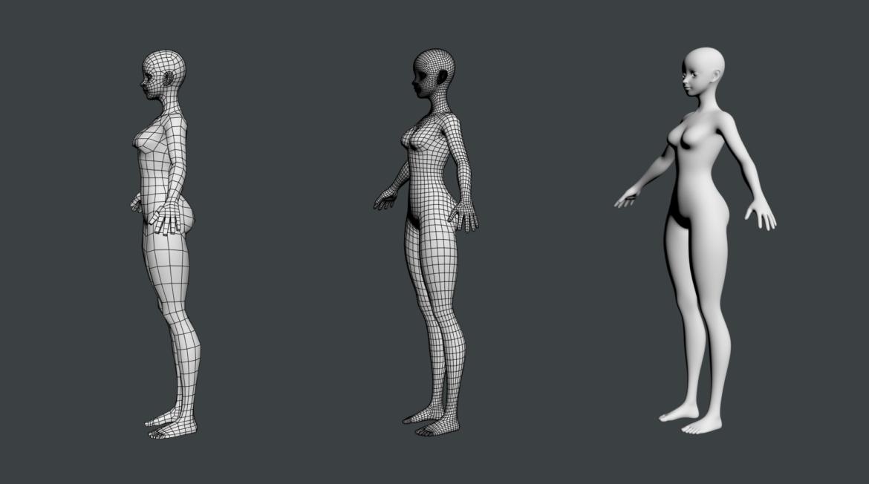 stilizuota mergina abby dailios formos tinklelis 3D modelis 3ds max fbx c4d dae ma mb obj 321816