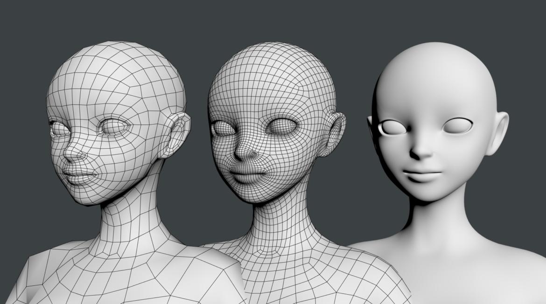 stilizuota mergina abby dailios formos tinklelis 3D modelis 3ds max fbx c4d dae ma mb obj 321817