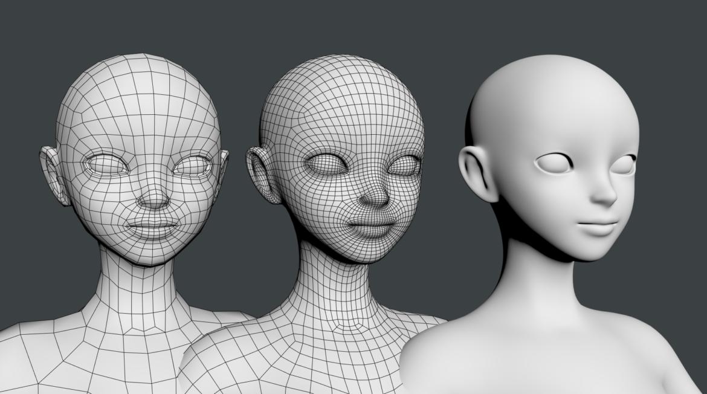 stilizuota mergina abby dailios formos tinklelis 3D modelis 3ds max fbx c4d dae ma mb obj 321818