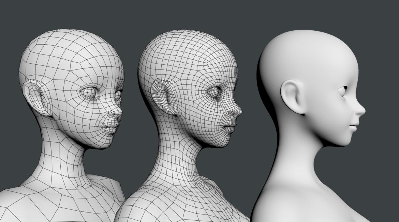 stilizuota mergina abby dailios formos tinklelis 3D modelis 3ds max fbx c4d dae ma mb obj 321819