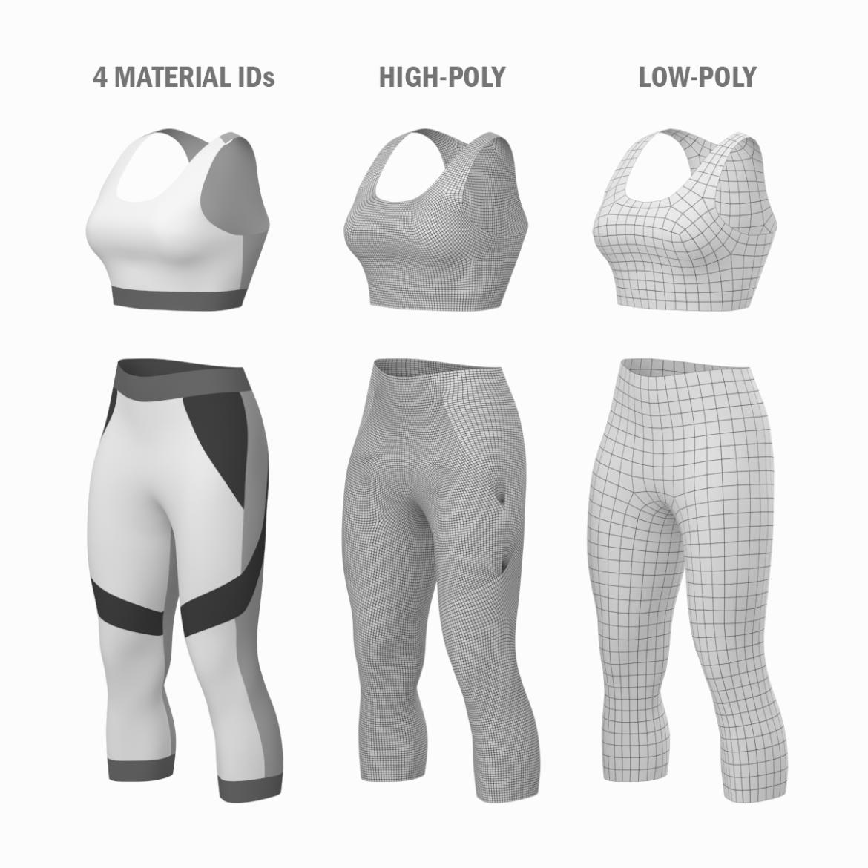 жіночий спортивний одяг 05 базових сітчастих дизайнерських комплектів 3d модель 3ds max fbx blend c4d dae ma mb obj ztl 321900