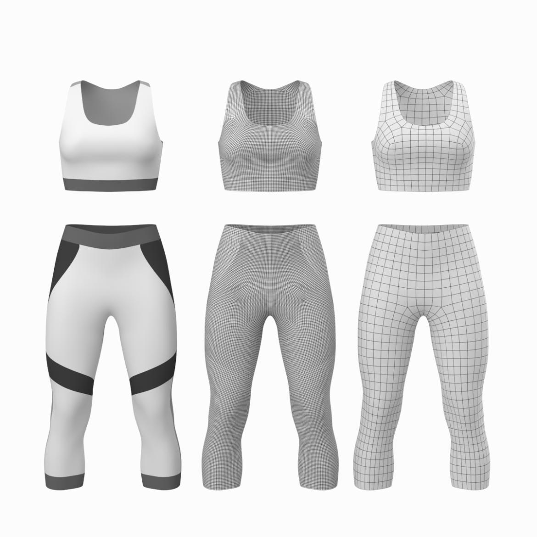 жіночий спортивний одяг 05 базових сітчастих дизайнерських комплектів 3d модель 3ds max fbx blend c4d dae ma mb obj ztl 321901