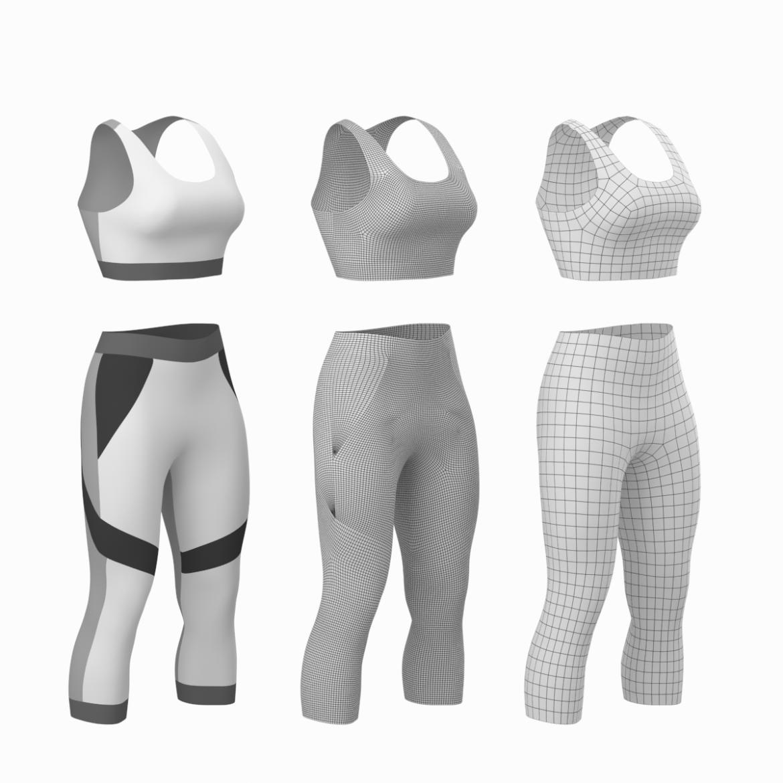 жіночий спортивний одяг 05 базових сітчастих дизайнерських комплектів 3d модель 3ds max fbx blend c4d dae ma mb obj ztl 321902
