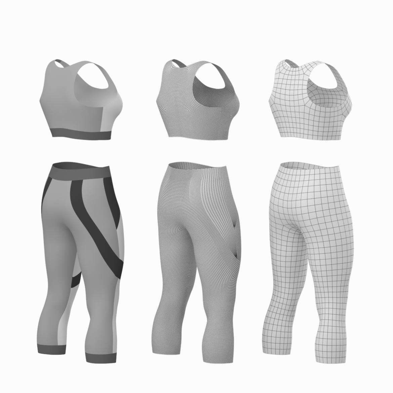 жіночий спортивний одяг 05 базових сітчастих дизайнерських комплектів 3d модель 3ds max fbx blend c4d dae ma mb obj ztl 321904