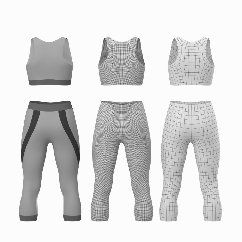 жіночий спортивний одяг 05 базових сітчастих дизайнерських комплектів 3d модель 3ds max fbx blend c4d dae ma mb obj ztl 321905