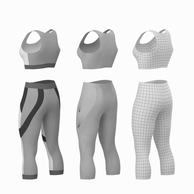 жіночий спортивний одяг 05 базових сітчастих дизайнерських комплектів 3d модель 3ds max fbx blend c4d dae ma mb obj ztl 321906