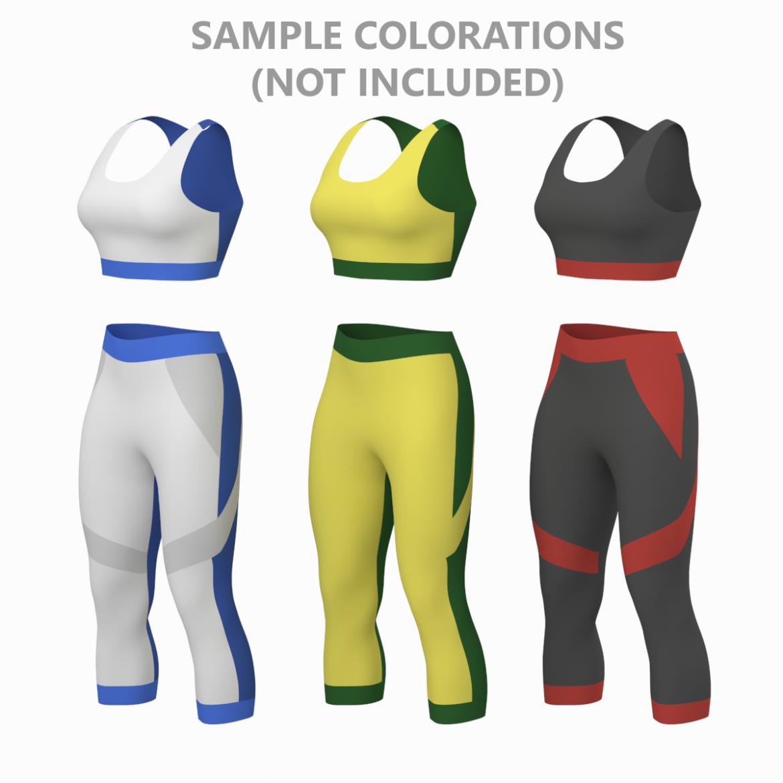 жіночий спортивний одяг 05 базових сітчастих дизайнерських комплектів 3d модель 3ds max fbx blend c4d dae ma mb obj ztl 321908