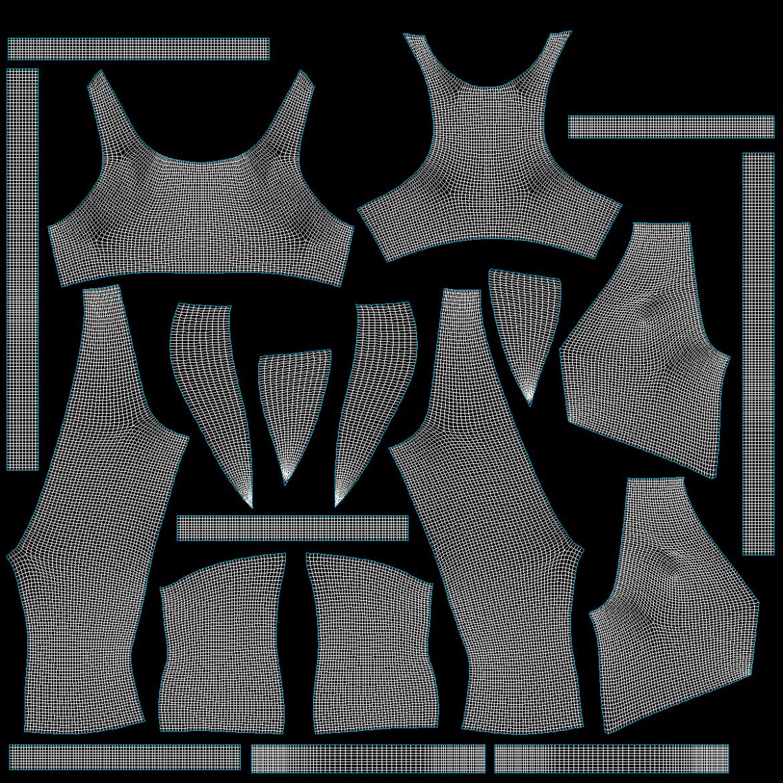 жіночий спортивний одяг 05 базових сітчастих дизайнерських комплектів 3d модель 3ds max fbx blend c4d dae ma mb obj ztl 321912