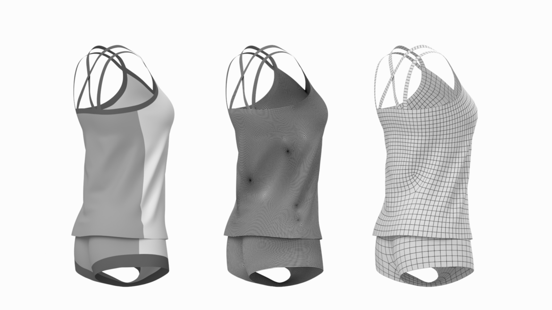 Moteriškos sportinės aprangos 07 pagrindų tinklelio dizaino rinkinys 3d modelis 3ds max fbx mišinys c4d dae ma mb obj ztl 321942