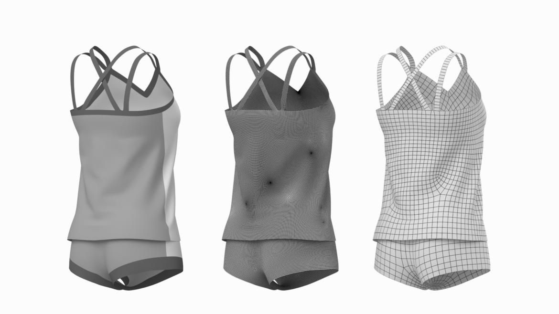 Moteriškos sportinės aprangos 07 pagrindų tinklelio dizaino rinkinys 3d modelis 3ds max fbx mišinys c4d dae ma mb obj ztl 321943