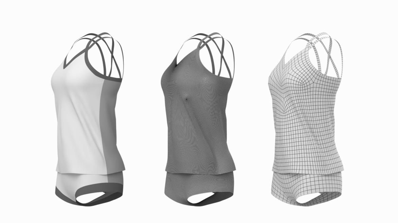 Moteriškos sportinės aprangos 07 pagrindų tinklelio dizaino rinkinys 3d modelis 3ds max fbx mišinys c4d dae ma mb obj ztl 321948