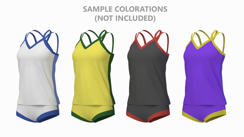 Moteriškos sportinės aprangos 07 pagrindų tinklelio dizaino rinkinys 3d modelis 3ds max fbx mišinys c4d dae ma mb obj ztl 321949