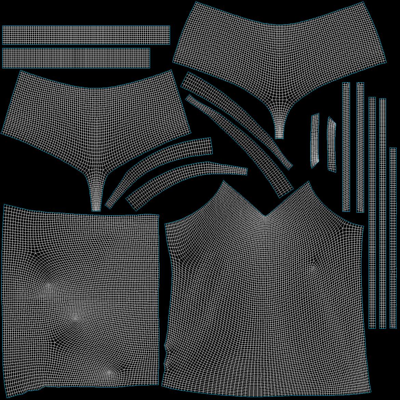 Moteriškos sportinės aprangos 07 pagrindų tinklelio dizaino rinkinys 3d modelis 3ds max fbx mišinys c4d dae ma mb obj ztl 321951
