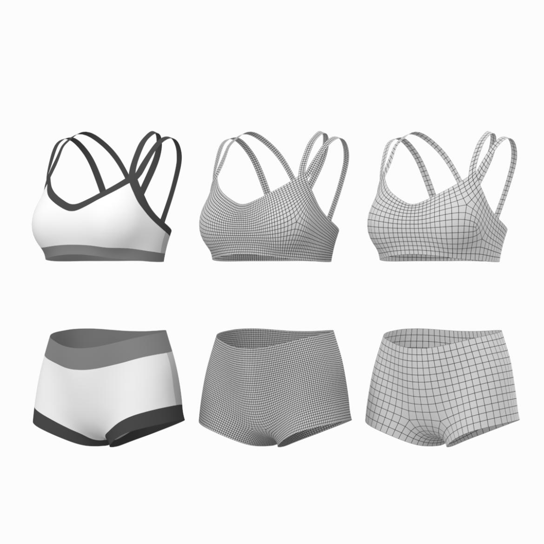 Moteriškos sportinės aprangos 08 pagrindų tinklelio dizaino rinkinys 3d modelis 3ds max fbx mišinys c4d dae ma mb obj ztl 322026