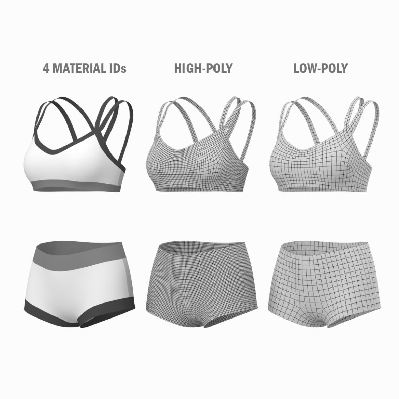 Moteriškos sportinės aprangos 08 pagrindų tinklelio dizaino rinkinys 3d modelis 3ds max fbx mišinys c4d dae ma mb obj ztl 322027