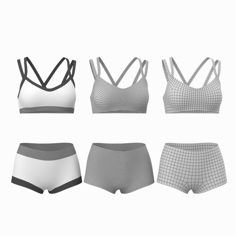 Moteriškos sportinės aprangos 08 pagrindų tinklelio dizaino rinkinys 3d modelis 3ds max fbx mišinys c4d dae ma mb obj ztl 322028
