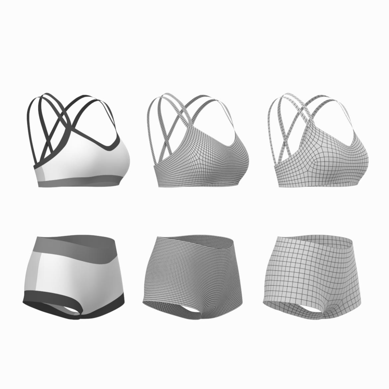 Moteriškos sportinės aprangos 08 pagrindų tinklelio dizaino rinkinys 3d modelis 3ds max fbx mišinys c4d dae ma mb obj ztl 322029