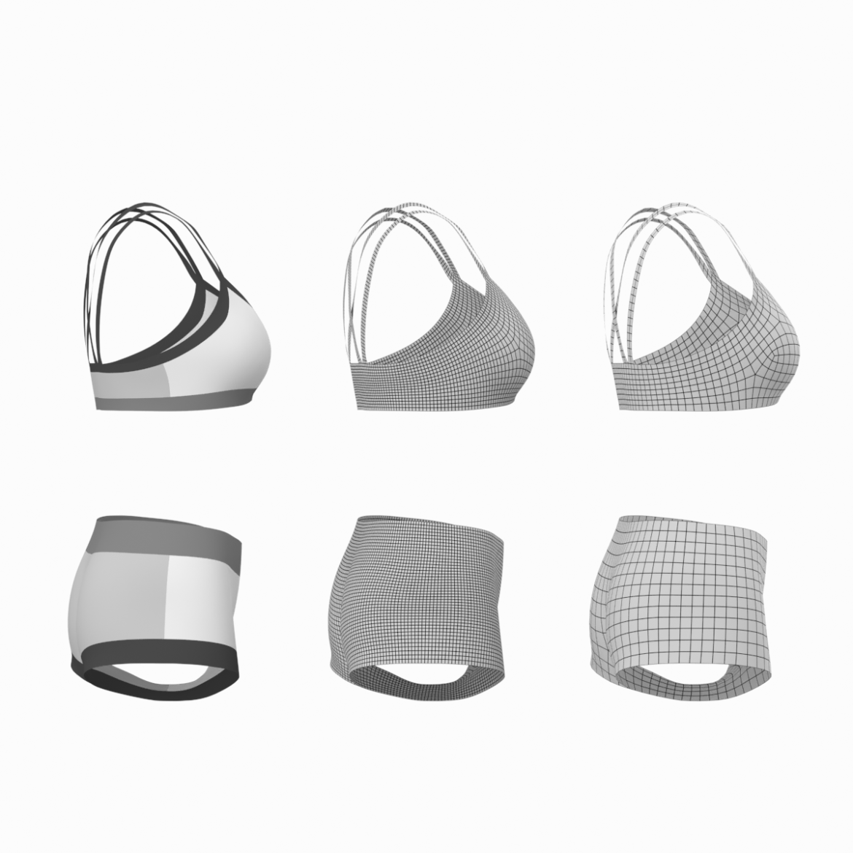 Moteriškos sportinės aprangos 08 pagrindų tinklelio dizaino rinkinys 3d modelis 3ds max fbx mišinys c4d dae ma mb obj ztl 322030