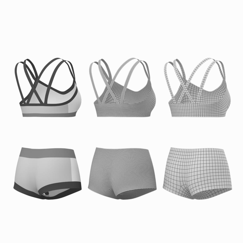 Moteriškos sportinės aprangos 08 pagrindų tinklelio dizaino rinkinys 3d modelis 3ds max fbx mišinys c4d dae ma mb obj ztl 322031