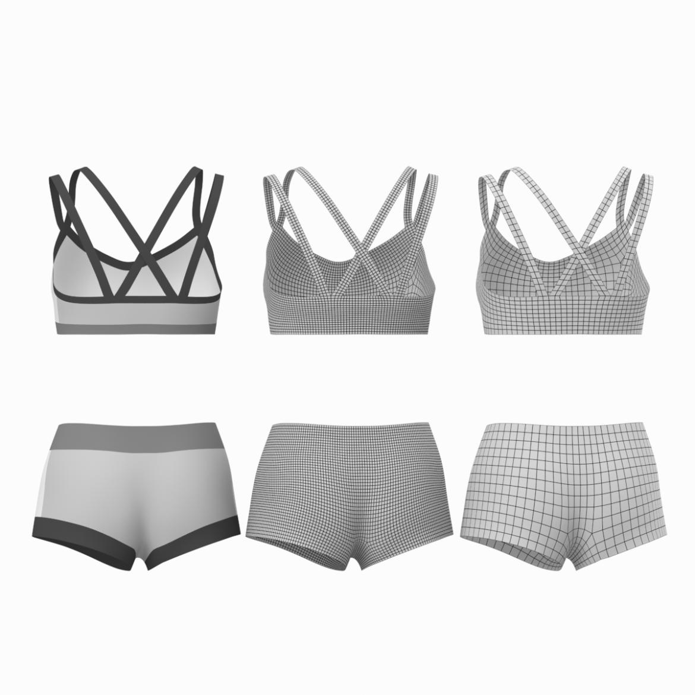 Moteriškos sportinės aprangos 08 pagrindų tinklelio dizaino rinkinys 3d modelis 3ds max fbx mišinys c4d dae ma mb obj ztl 322032