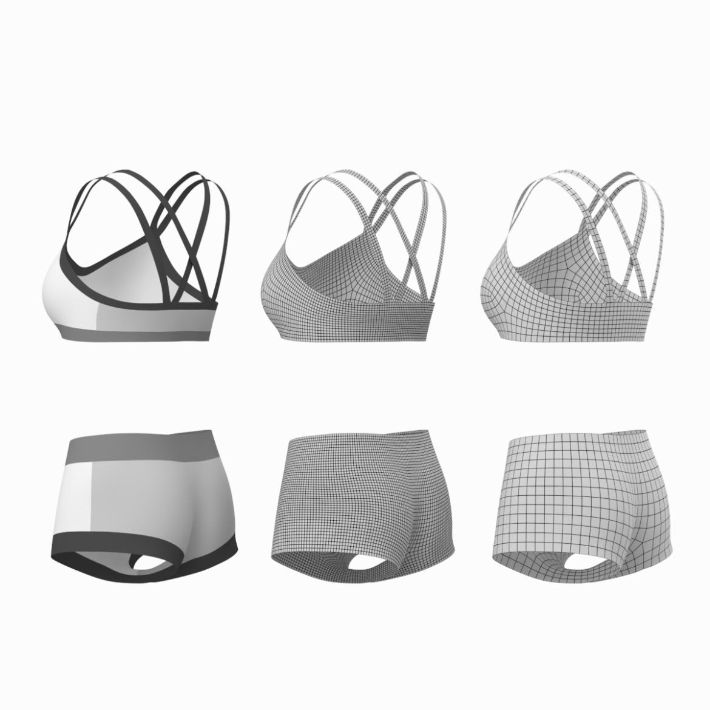 Moteriškos sportinės aprangos 08 pagrindų tinklelio dizaino rinkinys 3d modelis 3ds max fbx mišinys c4d dae ma mb obj ztl 322033