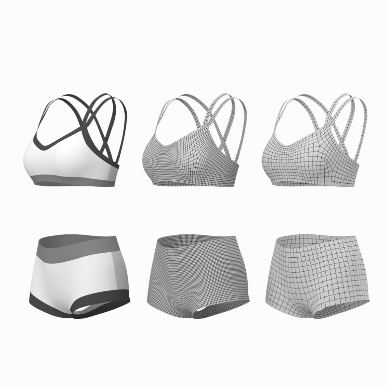 Moteriškos sportinės aprangos 08 pagrindų tinklelio dizaino rinkinys 3d modelis 3ds max fbx mišinys c4d dae ma mb obj ztl 322035
