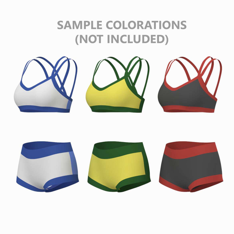 Moteriškos sportinės aprangos 08 pagrindų tinklelio dizaino rinkinys 3d modelis 3ds max fbx mišinys c4d dae ma mb obj ztl 322036