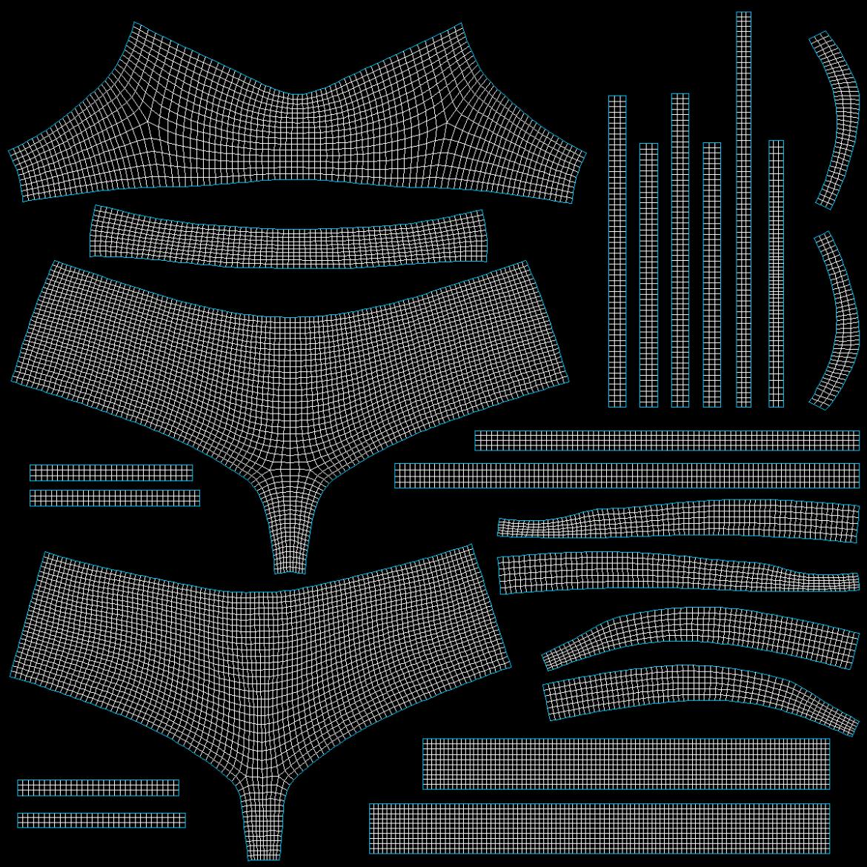 Moteriškos sportinės aprangos 08 pagrindų tinklelio dizaino rinkinys 3d modelis 3ds max fbx mišinys c4d dae ma mb obj ztl 322040