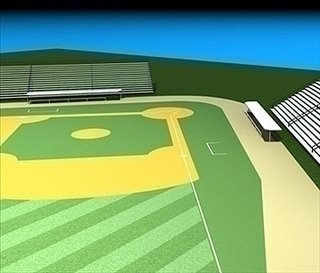 Baseball field 3d model computer graphic representation of a ballpark playing field