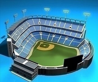 Baseball Stadium 3D model in 3ds, dxf, c4d, obj